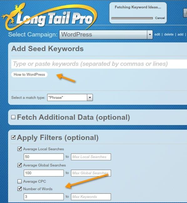 Using Long Tail pro
