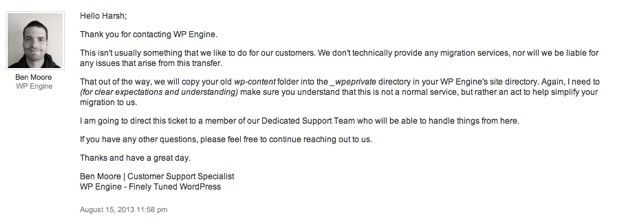 WPEngine Customer support