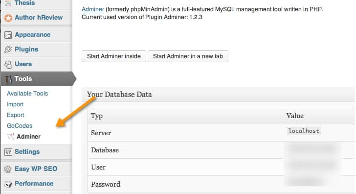 adminer wordpress plugin Adminer : Access phpMyAdmin Inside WordPress Dashboard