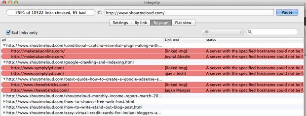 Integrity : Desktop Tool to Find Broken links For Huge Websites