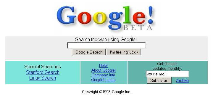 Google Homepage in 1998