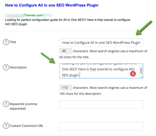 All in one SEO plugin Config