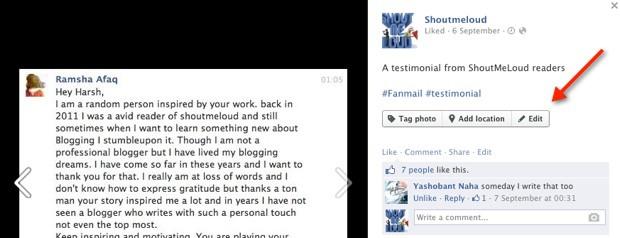 Editing Facebook status update