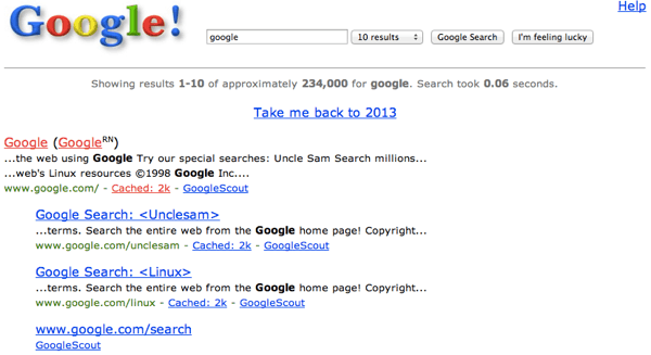 Google Search in past Back To History With Google In 1998 Easter Egg