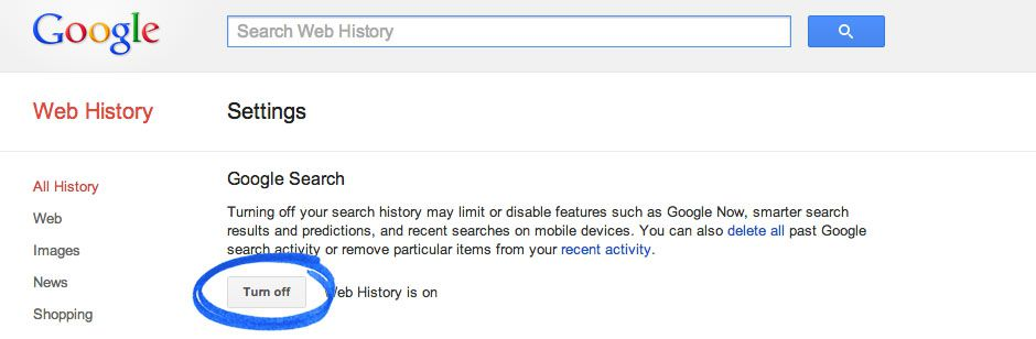 Stop saving Search history
