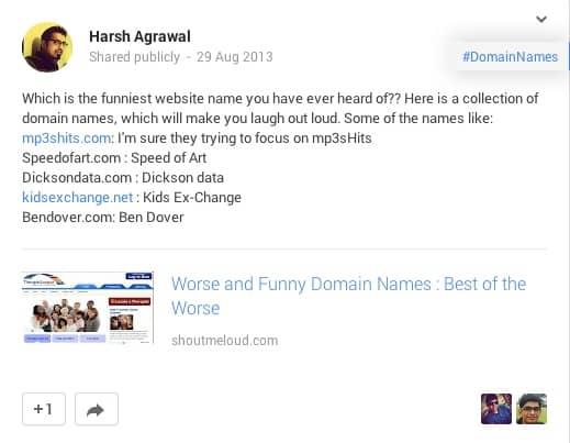 Share new post on Google plus