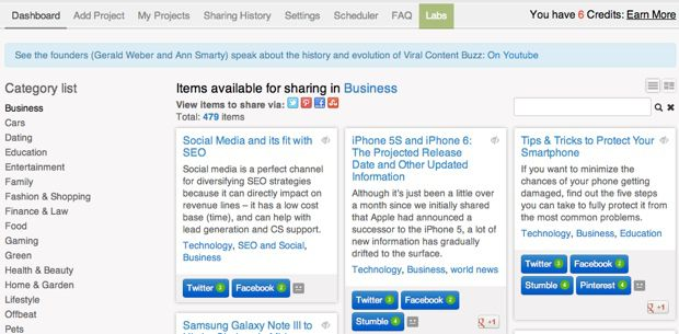 Viral content buzz dashboard Viral Content Buzz : Free Platform for Blog Post Promotion
