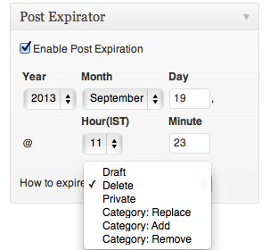 Post Expirator : Delete WordPress Post After Specific Time