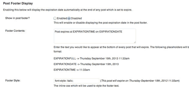 Post expirator WordPress plugin