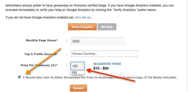 setting price for giveaway contest How to Earn Money From Your Blog in 2014