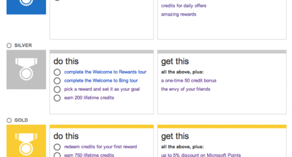 Bing Gamification levels