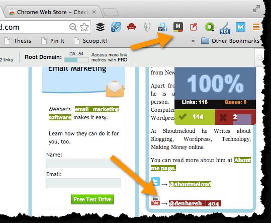 Check my Links Chrome addon