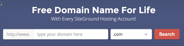 Free Domain with Siteground