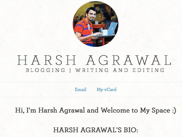 Harsh Agrawal brand yourself Brand YourSelf   Create Your Personal Branding Free WebPage
