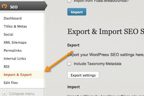 SEO import and export