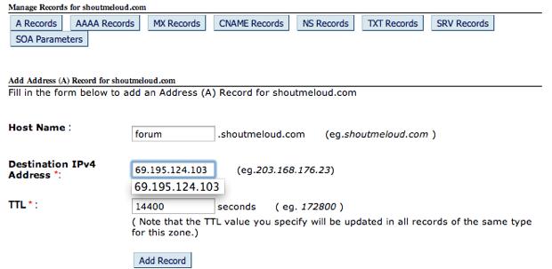 Sub-Domain A record