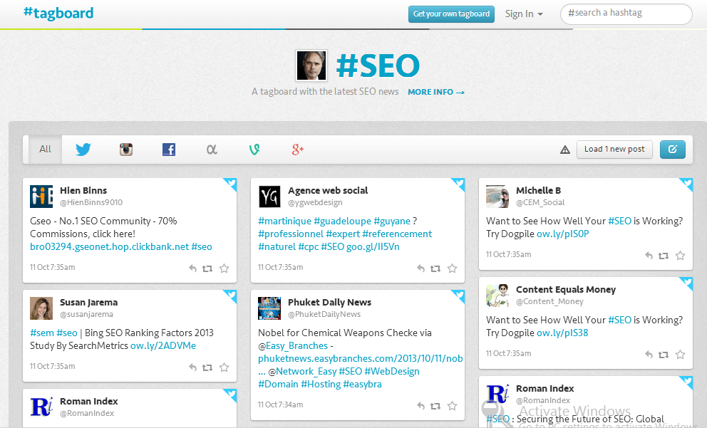 Tagboard SEO 5 Twitter Hashtag Tracking and Analytics tools