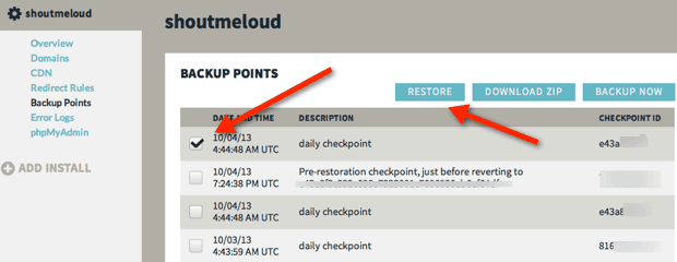 WPEngine Daily Backup Point How WPEngine Hosting Helped Me To Recover ShoutMeLoud Blog