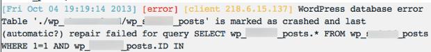 WordPress Database Fail