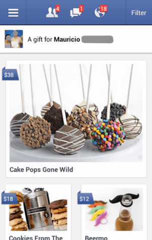 Facebook mobile gift shop