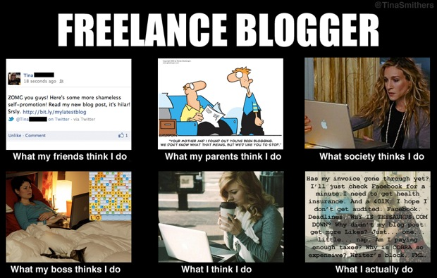 Freelance blogger meme
