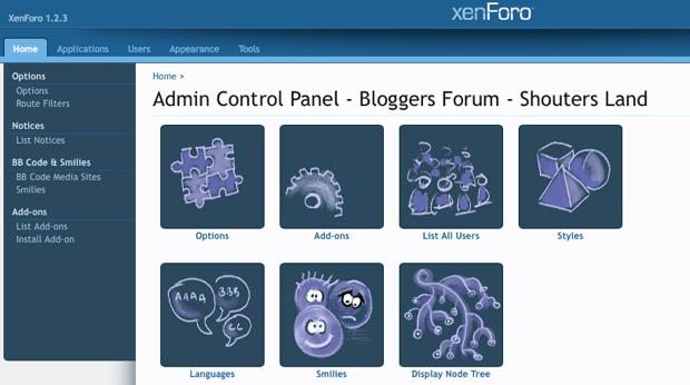 Xenforo admin panel