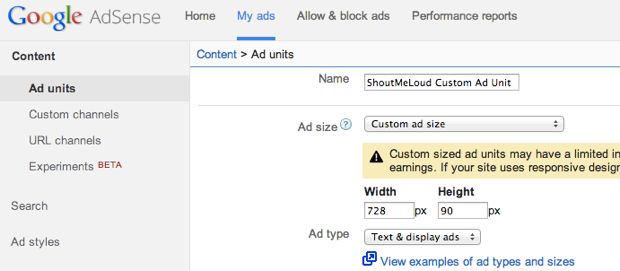 Adsense custom ad size