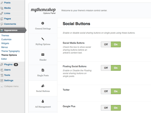 MythemeShop option Panel