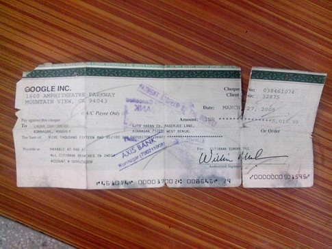 First AdSense cheque