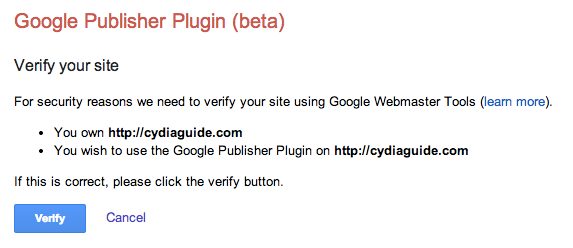 verify Google Access to WordPress plugin