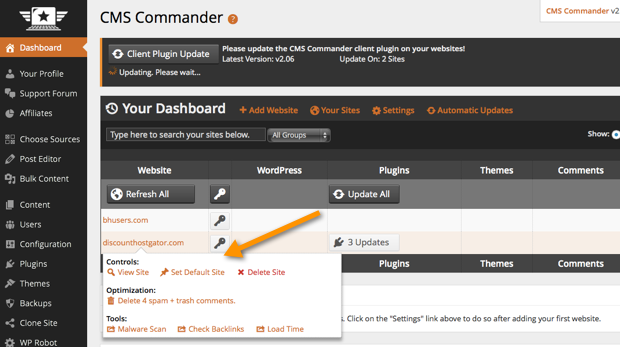 CMSCommander Dashboard CMS Commander Review   WordPress Bulk Management Service