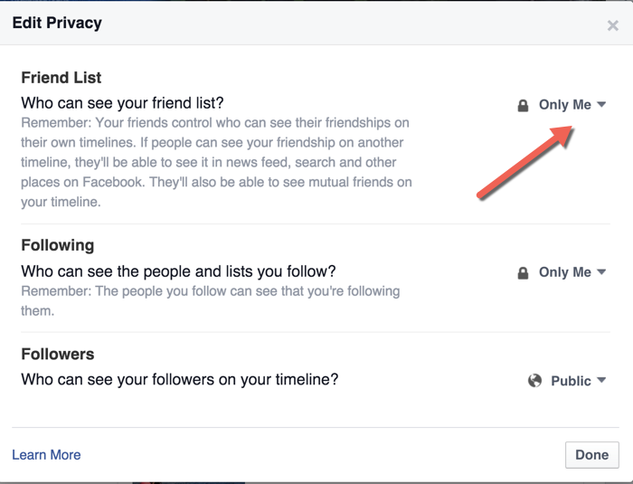 Facebook Friend list Privacy