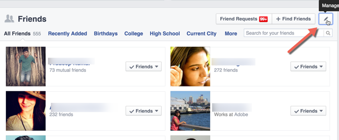 Manage Facebook friend list privacy