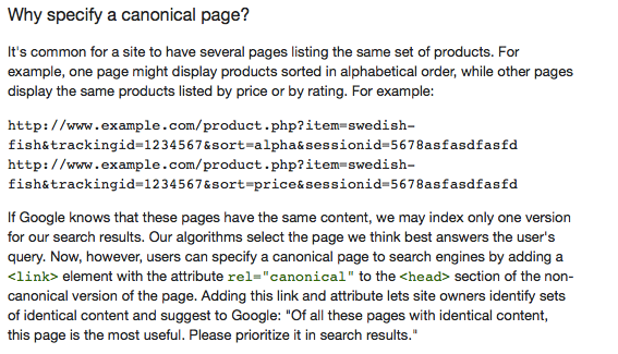 When to use canonical tag