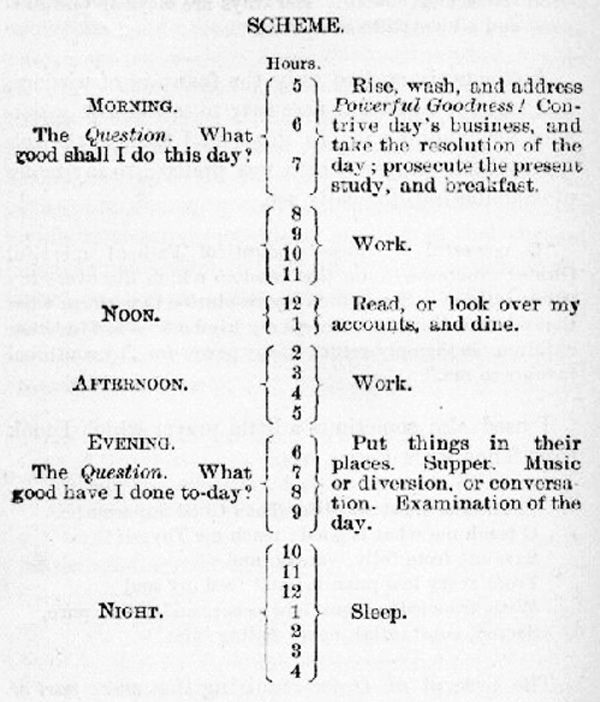 Benjamin Franklin Timetable