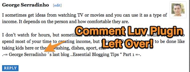 Comment Luv plugin leftover