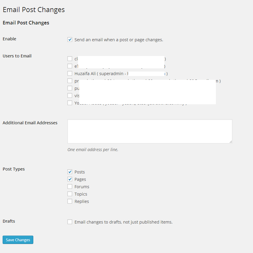 Email Post Notification Configuration