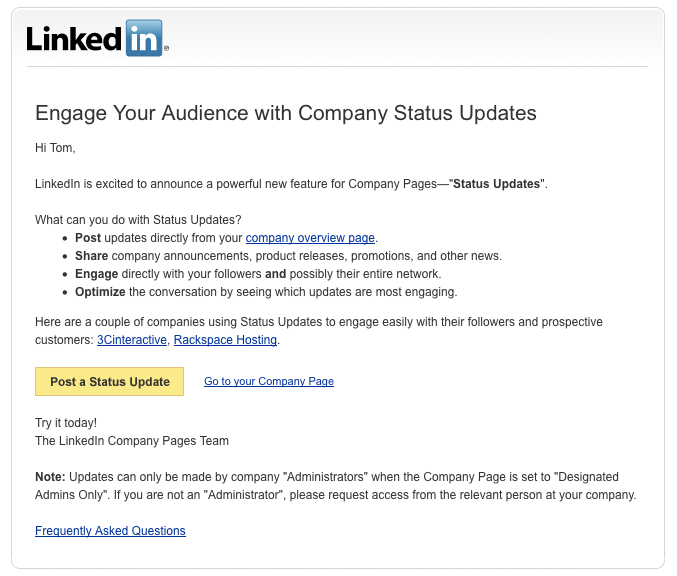 linkedin company status update Make The Most Of LinkedIn To Hire Young Talent