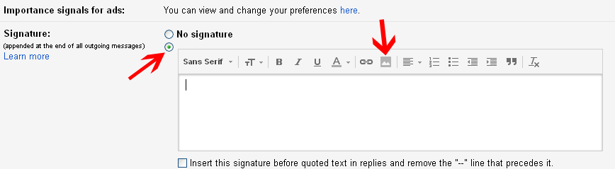 Gmail signature setting