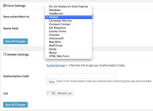 Seedprod Email Aweber integration