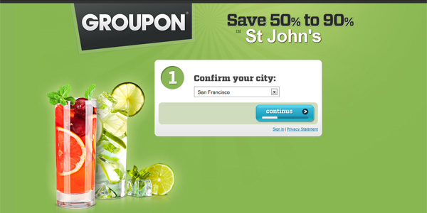 Groupon landing page 15 Growth Hack Techniques To Hack Your Online Life