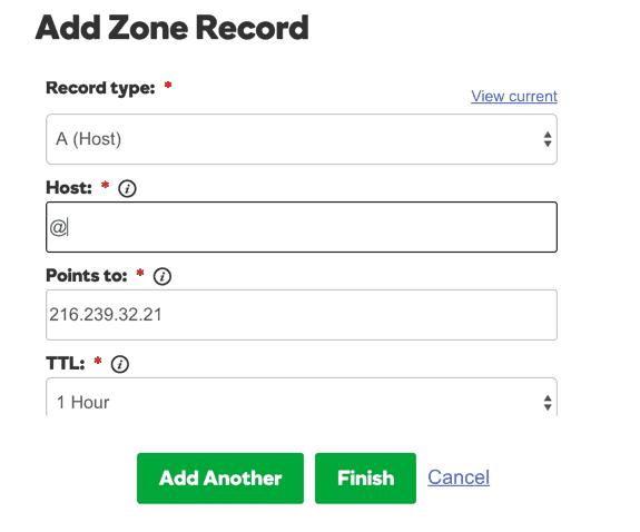 Add A record on Godaddy