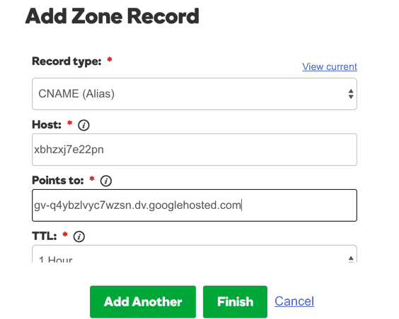 Adding CNAME record on Godaddy