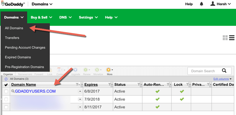 Manage Domains on Godaddy