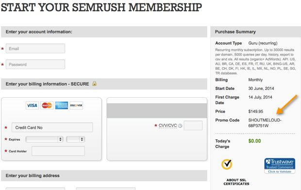 SEMRUSH Coupon SEMRUSH Coupon : Free Pro Account for 14 days Worth $150