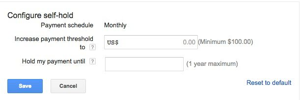 Adsense Payment threshold