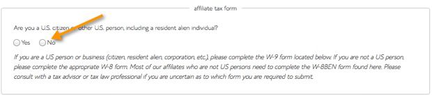 Bluehost Non US Tax form
