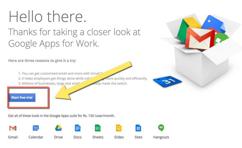 Free trial Google Apps for work