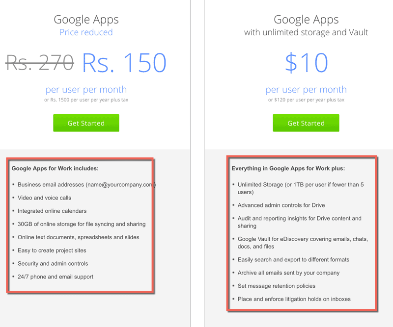 Google apps pricing