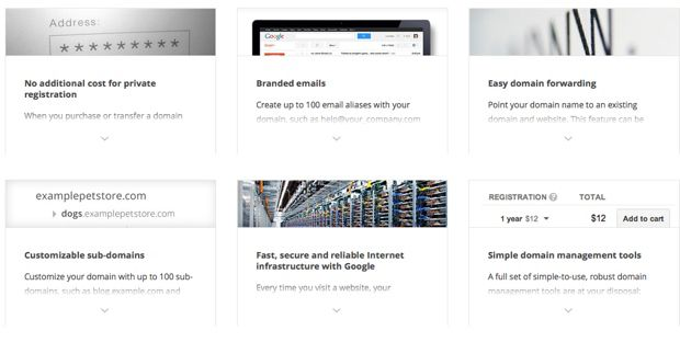 Google domains feature